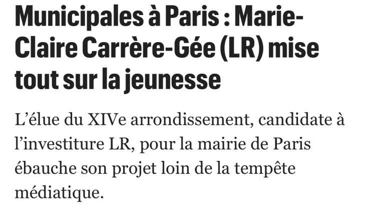Municipales Paris 2020 : Marie-Claire Carrere-Gee mise tout sur la jeunesse (Le Parisien)