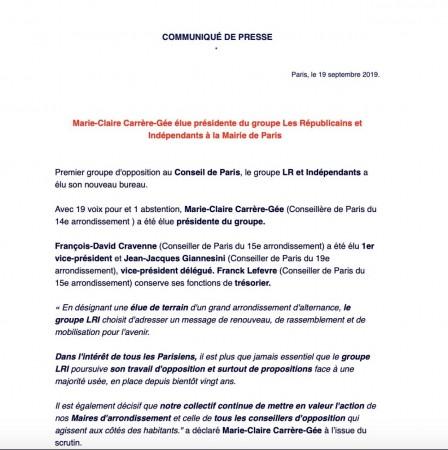 Mon élection, à l'unanimité, à la présidence du groupe Les républicains et Indépendants à la Mairie de Paris
